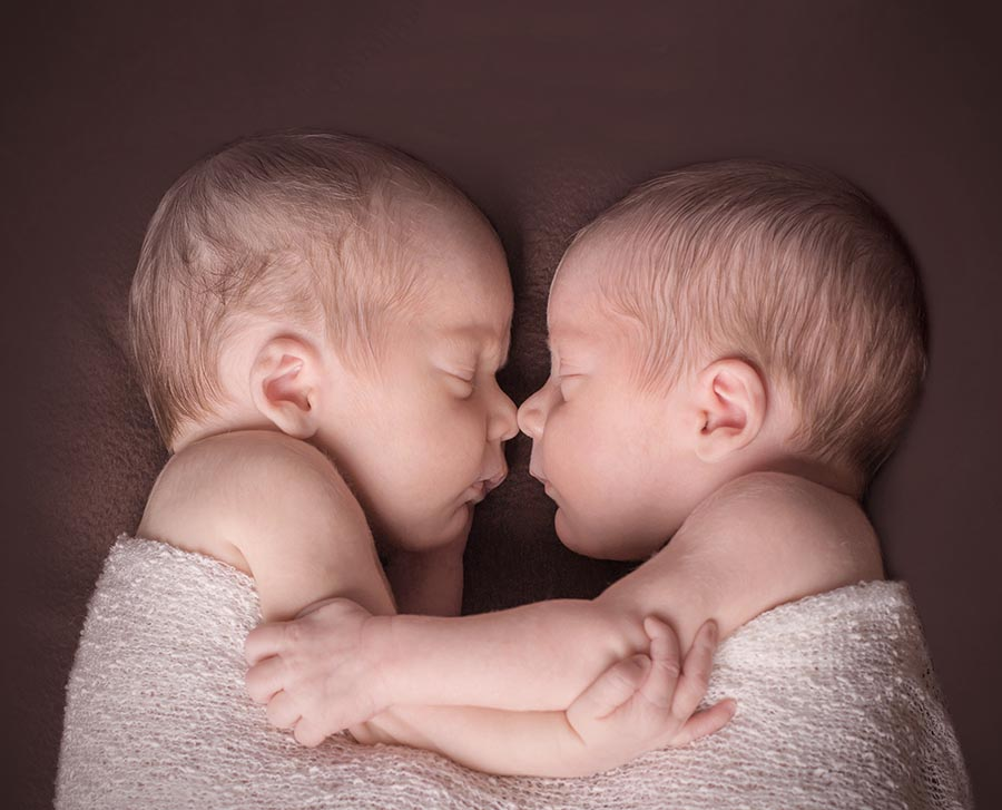 Cambridge baby photographer - newborn twins nose to nose