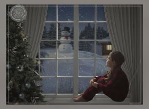 Christmas window - boy waiting for santa